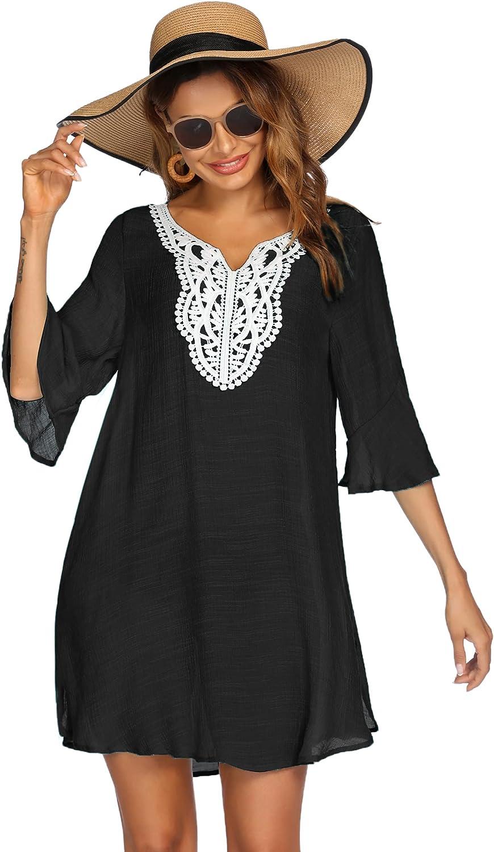 Ekouaer Women's Swimsuit Cover Ups for Swimwear Crochet Lace Summer Casual Bathing Suit Beach Dress