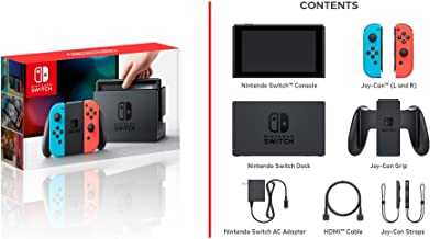 Nintendo Switch - Neon Blue and Red Joy Con W/ 59.99 Value 13 in 1 Supper Carrying Case (Earphone, Card case, LCD film, Silicon case x2pcs, Carry bag,Wiping cloth, scraping film card, ect.)