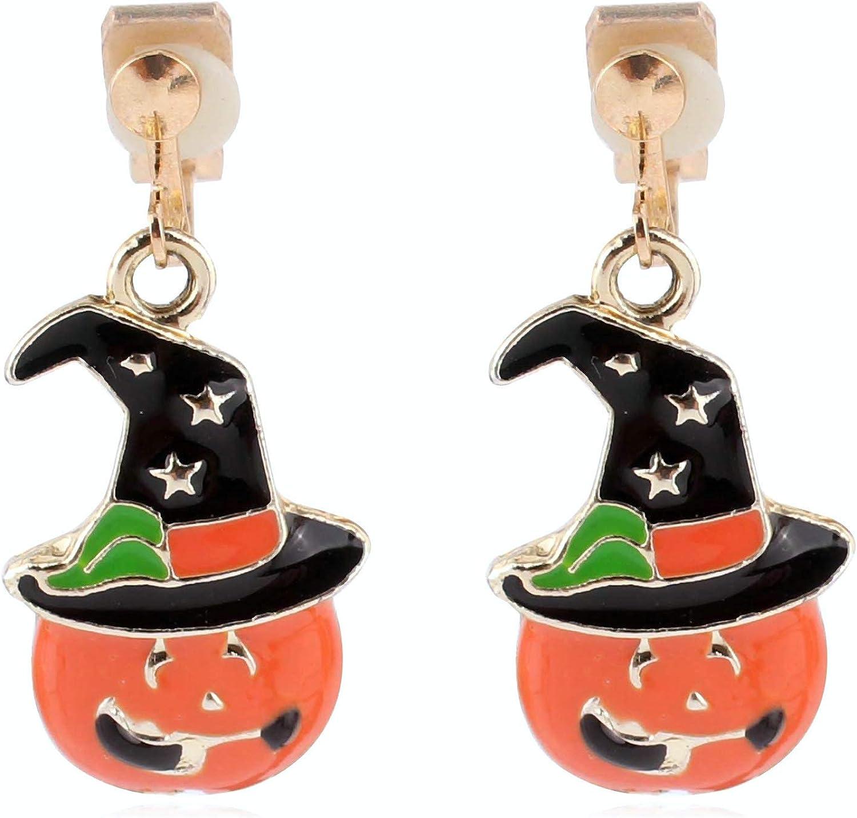 HAPPYAN Fashion Christmas Stud Clip on Earrings Cute Snowflake Santa Bell Snowman Charm Earrings Jewelry Accessory