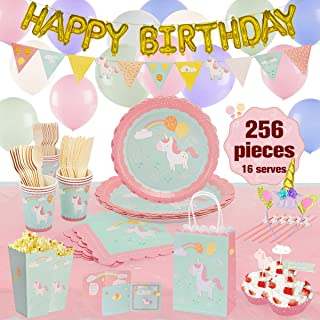 Unicorn Birthday Party Supplies Set And Decorations,256Pcs,Serves 16,Riscawin Birthday Party Supplies Set For Girls With Paper Plates,Paper Cups,Balloons, Utensils