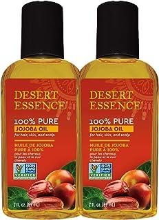 Desert Essence 100% Pure Jojoba Oil - 2 Fl Oz - Pack of 2 - Haircare & Skincare Essential Oil - All Skin Types - No Oily R...