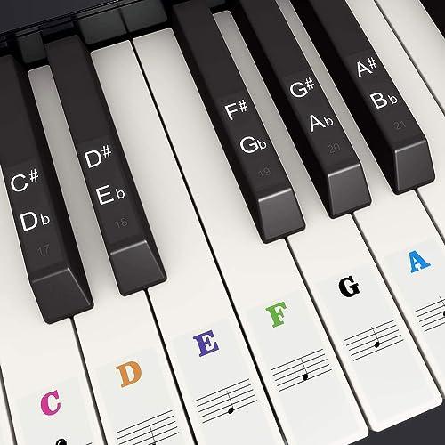 Autocollants de Piano de Couleur pour 37, 49, 54, 61, 88 Touches, Fansjoy Autocollants Coloré Piano de Remplacement P...