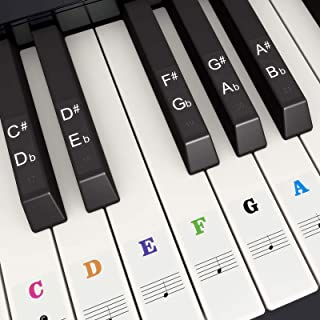 SUEWIO Piano Keyboard Stickers for 37/49/54/61/88 White and