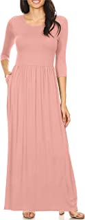 Women's Long Rayon Maxi Dress with Pockets, Scoop Neck and Empire Elastic Waist