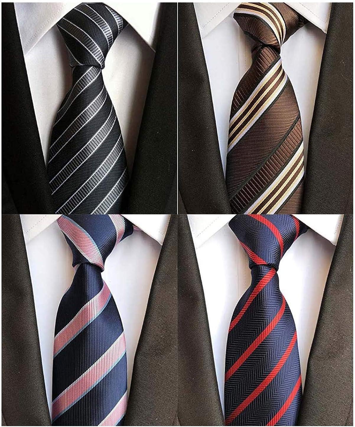WeiShang Lot 6 PCS 4 inch Classic Men's Wide Tie Necktie Woven JACQUARD Neck Ties (Style 08), Medium