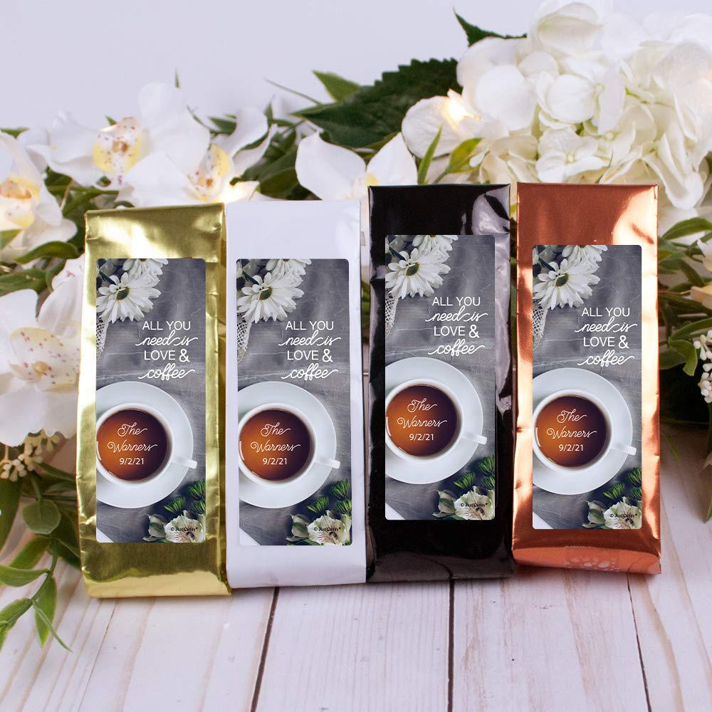Omaha Mall free shipping Coffee Wedding Favors 12 Pack Personalized 1.5oz Bags -