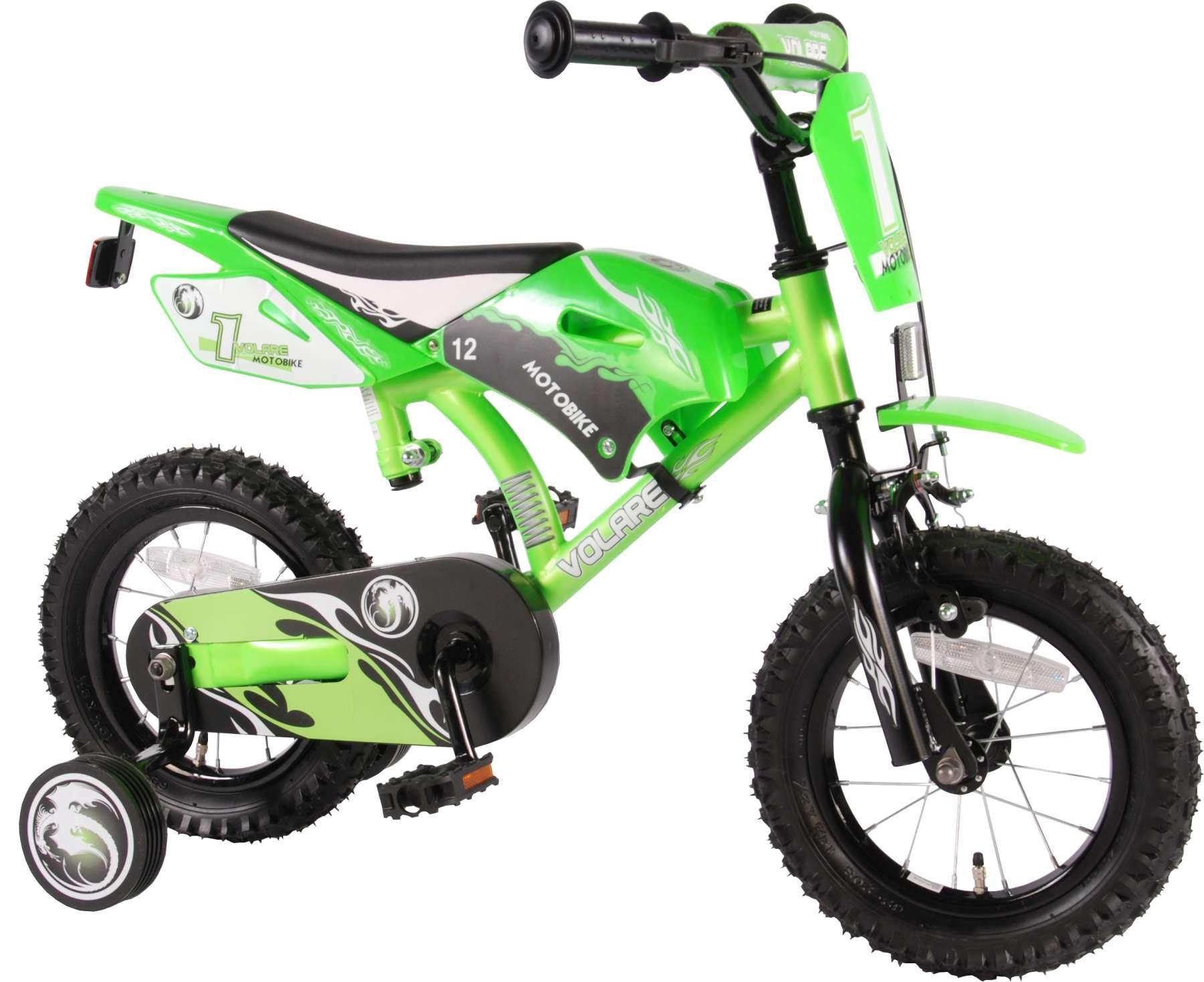 Volare Moto Bike 12 pulgadas verde – Bicicleta infantil con freno ...