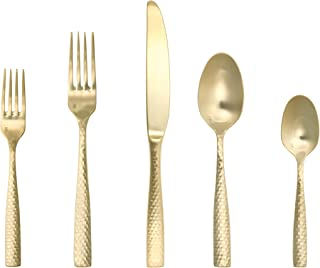 Fortessa Lucca Faceted 18/10 Stainless Steel Flatware, 20 Piece Place Setting, Service for 4, Brushed Gold