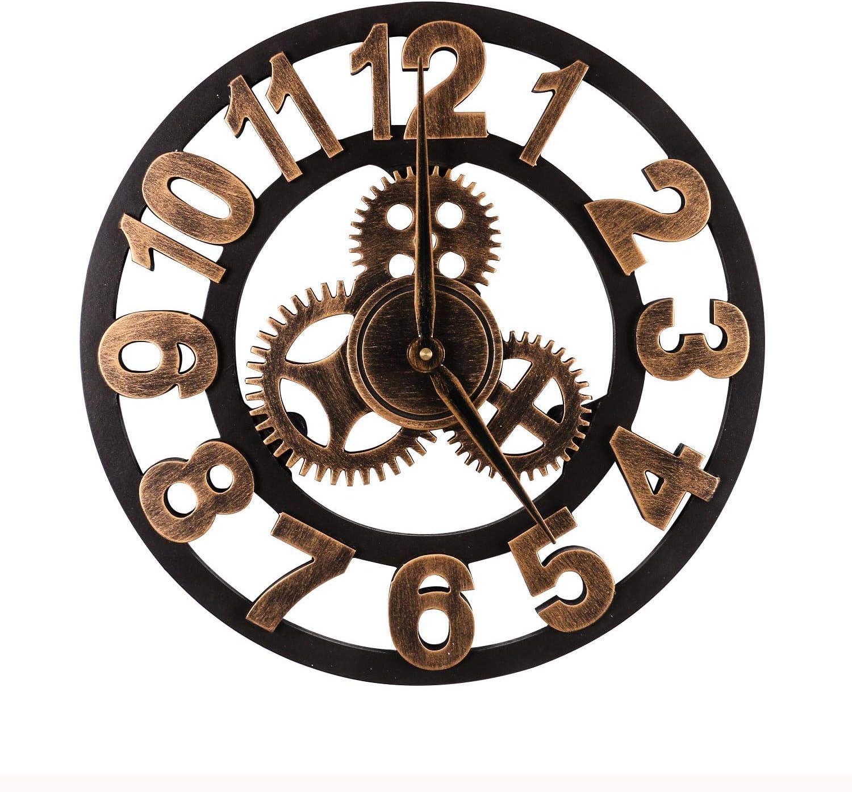 Mengshen Reloj De Pared Decorativo Retro De Gran Tamaño - De Madera Y Silencioso (Dorado, 50CM, Números árabes)