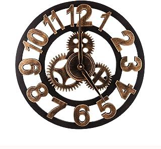 Mengshen Oversized Retro Gear Wall Clock - Wooden & Noiseless(15.7 Inch, Golden, Arabic Numerals)