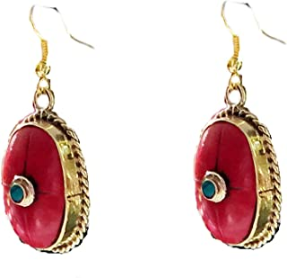 Red Coral Earrings,Dangle style,Nepal red and Gold Jewelry Tibetan earrings,Handmade by Taneesi