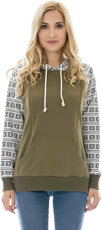 Bearsland Women's Maternity Nursing Hoodie Long Sleeves Breastfeeding Sweatshirt with Pockets