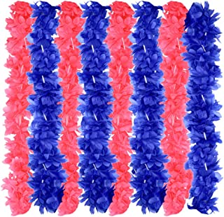 LALASTAR Pink and Blue Flower Leis Bulk for Gender Reveal Baby Shower,Tropical Hawaiian Luau Flower Necklace Leis,Pack of 32