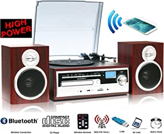 ODC38WD BT, High Power 50W, 3 Speed classic Retro Turntable, Bluetooth W/ NFC technology, Remote contro; CD MP3 Playerwood color
