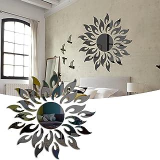 Autocollant Mural de Miroir Décoratif Bricolage Tournesol, 3D Acrylique Soleil Fleur Miroir Salon Chambre Art Déco Sticker...