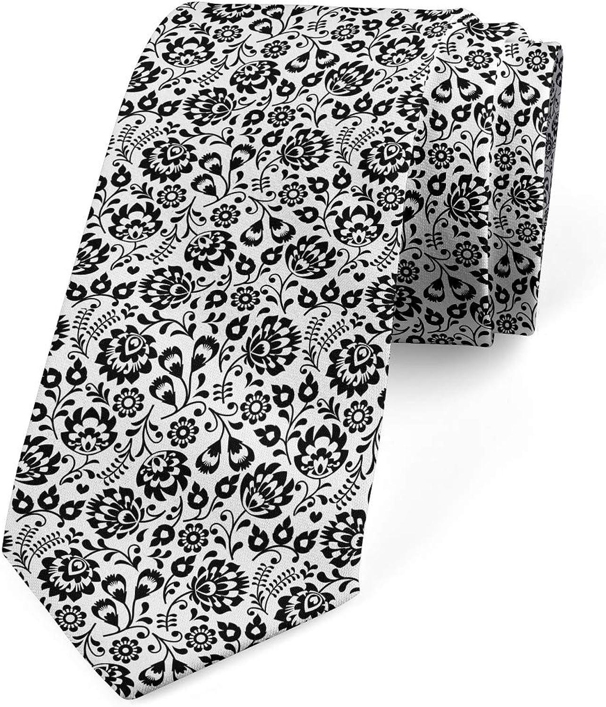 Ambesonne Men's Tie, Traditional Flora, Necktie, 3.7