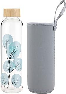 22 cm Trinkflasche Glas rosa 0,75 l Neopren-Mantel Borosilikatglas Ø 7,8 cm Hca