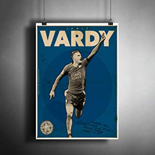 Jamie Vardy Leicester City Art Poster Photo Print Decor FIFA Soccer Football Fan Artwork (A3 Size (297×420 mm (11,7×16,5 inches))