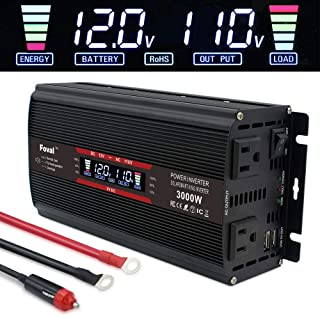 Yinleader Power Inverter 1500W/3000W(Peak) DC 12V to 110V AC Converter with Intelligent LCD Display Dual AC Outlets Dual USB Charger for for RV Caravan Truck Laptop Phone(Black)