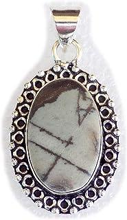 Picasso Jasper Pendant, Silver Plated Brass Pendant, Handmade Pendant, Gift Jewelry, Women Jewellry, Fashion Jewellry, BRS...