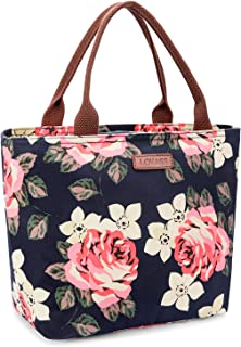LOKASS Lunch Bag Cooler Bag Food Insulated Bag Lunch Box Tote Bag Picnic Heat Preservation Cold Bag for Women Adults Work Office (Peony)