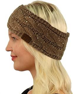 SK Hat shop CC Winter Fuzzy Fleece Lined Thick Knitted Headband Headwrap Earwarmer