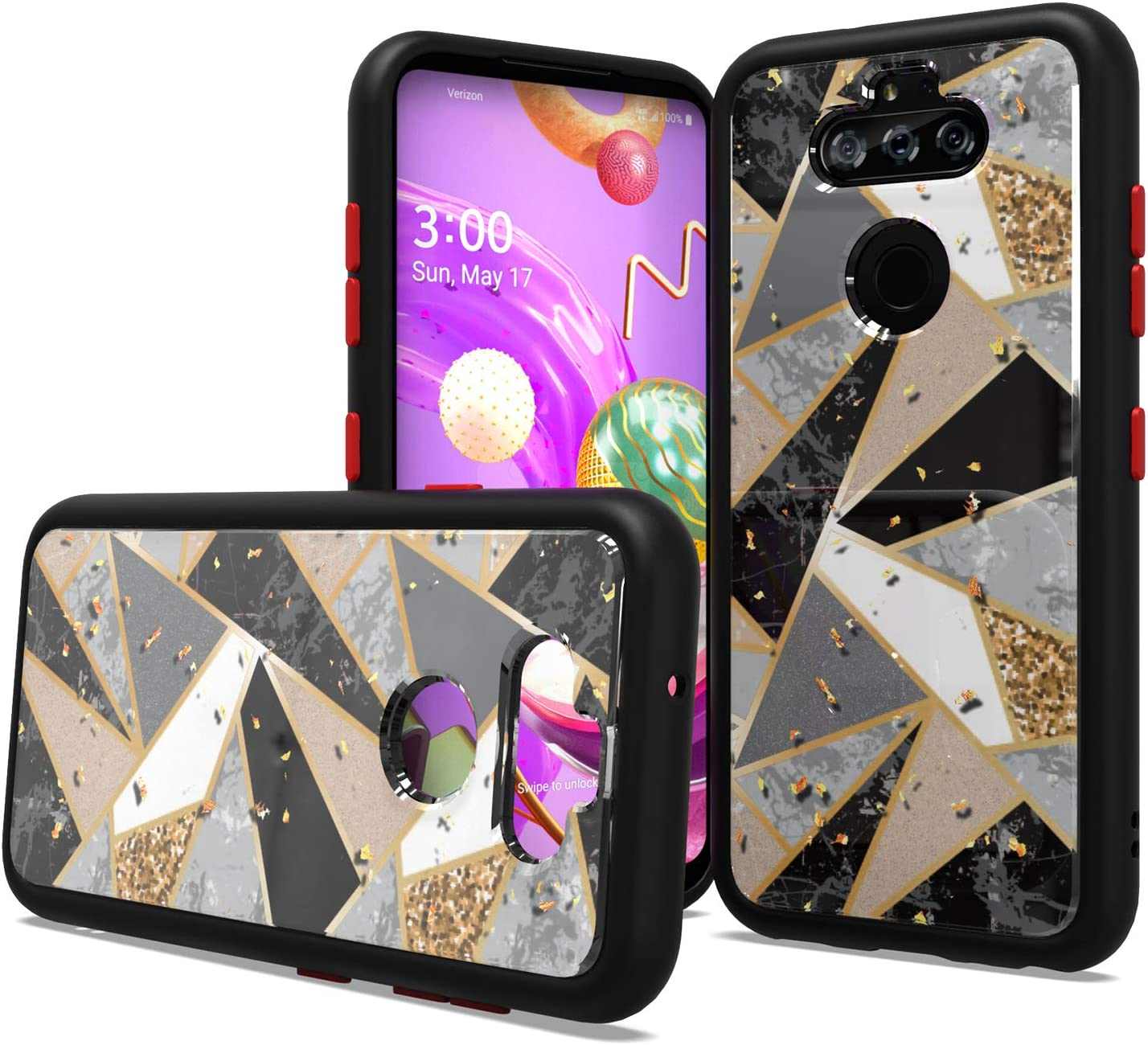 Fcclss Cell Phone Case for LG K31 / Aristo 5 / Phoenix 5 / Risio 4 / K8x / Fortune 3 / Tribute Monarch, Heavy Duty Hybrid Case with Glitter Black Marble Printed Pattern, Shockproof Protective Case