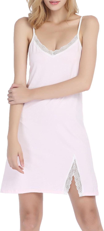 Chamllymers Womens Cotton Nightgown Full Slip Chemise Sleepwear Lace Lounge Dress
