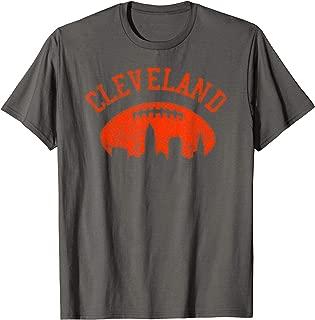Downtown Cleveland City Skyline Football Vintage Fan T-Shirt