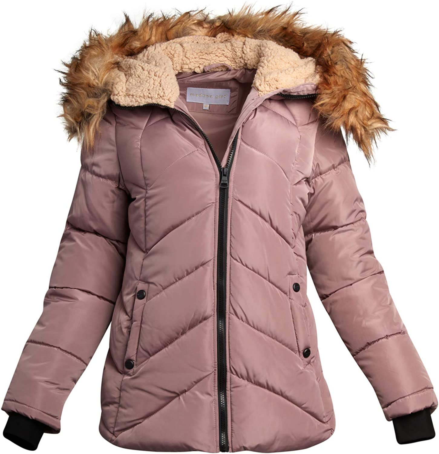 Madden Girl Women's Winter Puffer Jacket with Removable Sherpa-Lined, Fur-Trimmed Hood