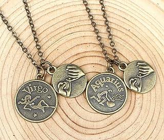 Collana con 12 costellazioni dello zodiaco dell'oroscopo, collana di iniziali dello zodiaco, collana mano nella mano