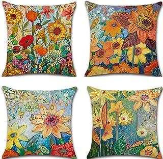 Bubunix 4 Piezas Funda de Almohada de Lino 45 X 45 cm, Hogar Sofá,Cama,Silla Dormitorio Fundas Decorativas para Almohada (Style 10)