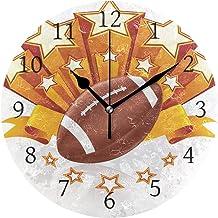 Ahomy - Reloj de pared redondo silencioso con emblema de fútbol americano para decoración del hogar, 10 pulgadas, para salón, dormitorio y cocina