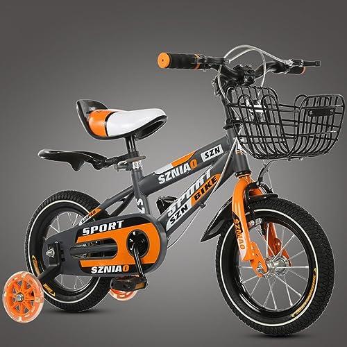 GAIXIA Vélo de Montagne pour Enfants, 18 Pouces, vélo 6-9 Ans, Cadre en Acier à Haute teneur en voiturebone pour Poussette bébé et Homme, Orange Vélo pour Enfants