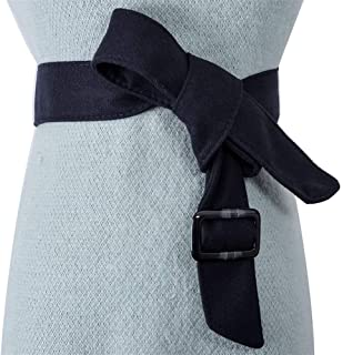 SGJFZD Women's Belt Double-Faced Woolen Coat Decoration Wide Waistband Simple Fashionable with Dress Sweater Bow Tie (Color : Navy)