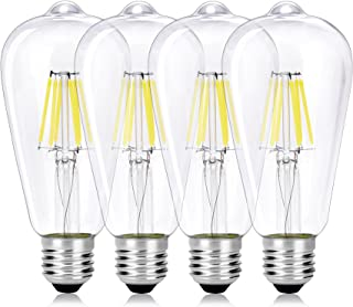 Wedna E27 6 W Bombilla decorativa LED con filamento, ST64 6000K Blanco frío Edison Bombillas, equivalente a 60 W, estilo vintage, No regulable, 4 Piezas