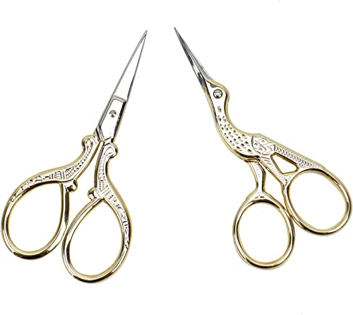 AQUEENLY Embroidery Scissors, Stainless Steel Sharp Stork Scissors for Sewing Crafting, Art Work, Threading, Needlewo...