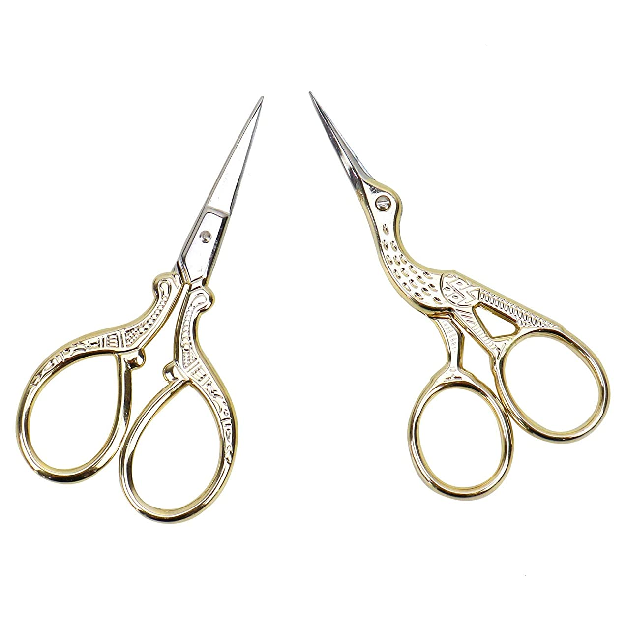 AQUEENLY Embroidery Scissors, Stainless Steel Sharp Stork Scissors for Sewing Crafting, Art Work, Threading, Needlework - DIY Tools Dressmaker Small Shears - 2 Pcs (3.6 Inches, Gold)