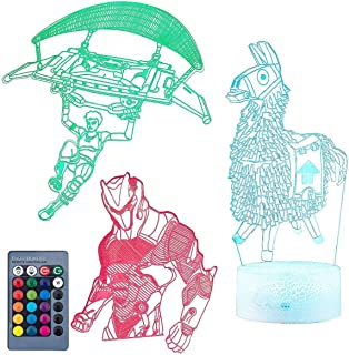Koyya Llama 3D Night Light Illusion Table Lamp with 7 Color and 4 Changing Modes, USB Power/Touch Switch/with Remote Control for Room Decor,Kids's Toy and Gifts, 3 Pack