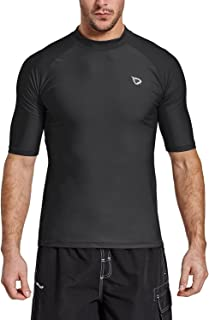 BALEAF Men`s Short Sleeve Rashguard Swim Shirt UPF 50+ Sun Protection Rash Guard