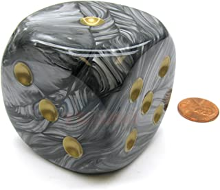 Black Lustrous Dice With Gold Pips 50mm (2in) D6 Die Chessex