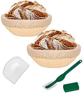 Gucilaly 9 Inch Round Bread Banneton Proofing Basket Includes Linen Liner, Dough Scraper and Bread Lame Rising Dough Bakin...