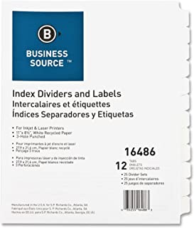 Business Source Customize 12-Tab Index Dividers, 25 Sets (16486)