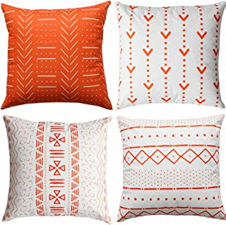 WLNUI Orange Pillow Covers 18x18 Inch Set of 4 Boho Modern Square Throw Pillow Covers Geometric Mudcloth Linen Neutral Decorative Cushion Case for Sofa Couch Chair Farmhouse Decor