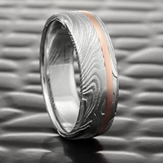 Flat Men's Damascus Steel Realistic Woodgrain Ring with Offset 14K Rose Gold Inlay   EPIC WOOD