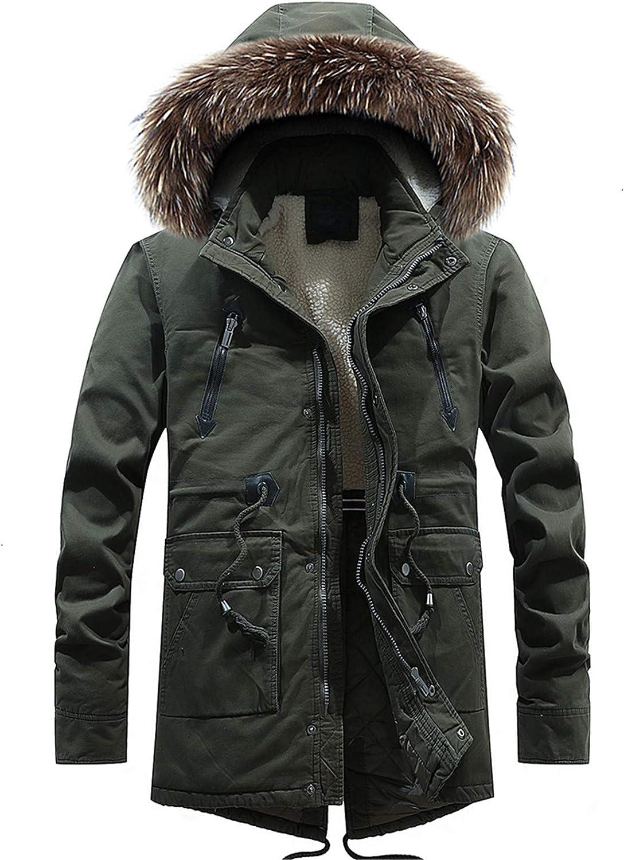 Tealun Winter Men Casual Long Fur Collar Hooded Fleece Jacket Parkas Men Fashion Warm Thick Pocket Parkas