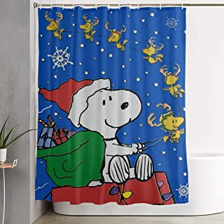 LIUYAN Shower Curtain with Hook - Merry Christmas Snoopy Waterproof Polyester Fabric Bathroom Decor 60 X 72 Inches