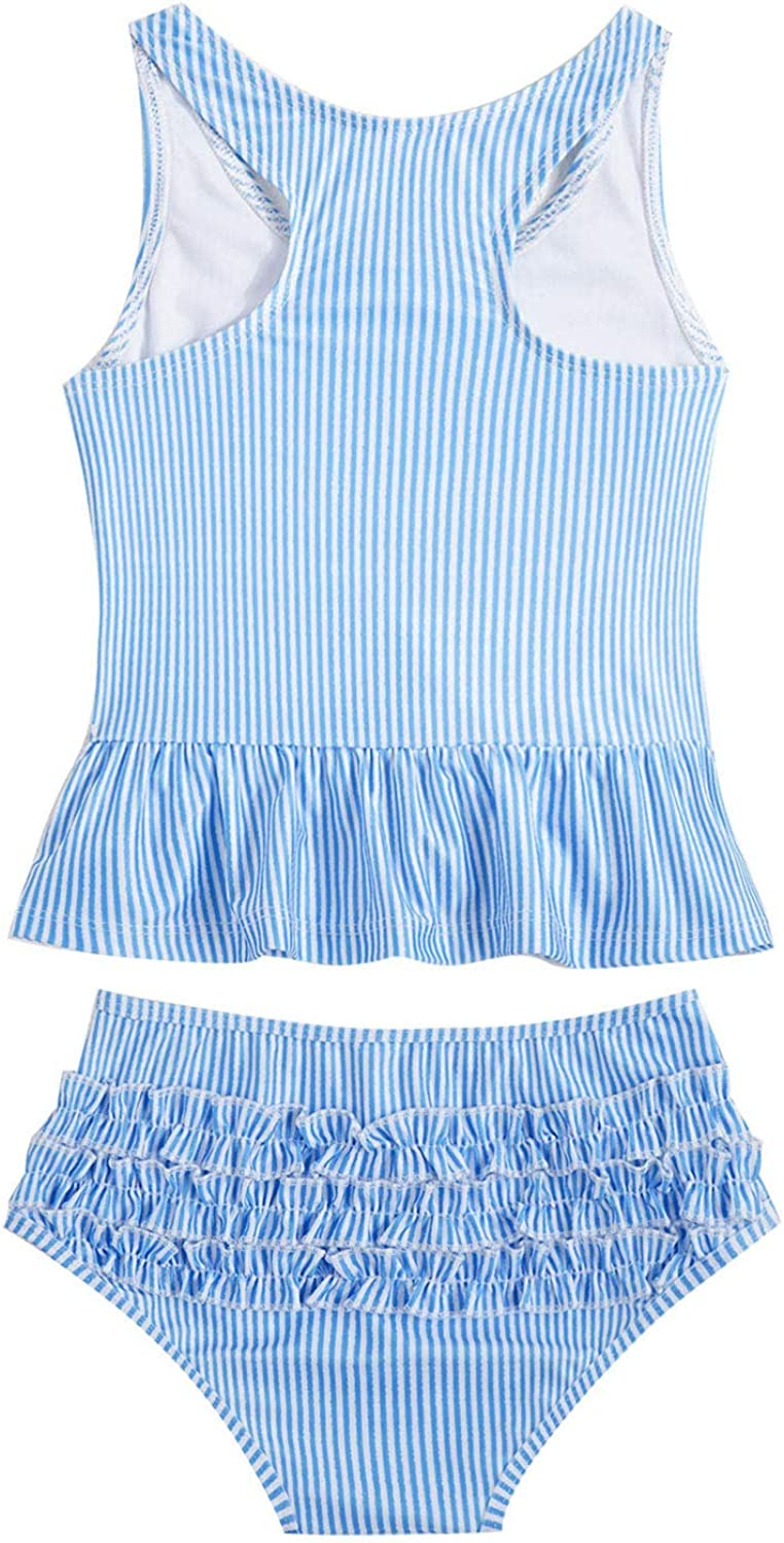 Yeahdor Baby Girls Daily bargain sale Two Piece Swimsuit Ruffles w Top Free Shipping New Striped Tank