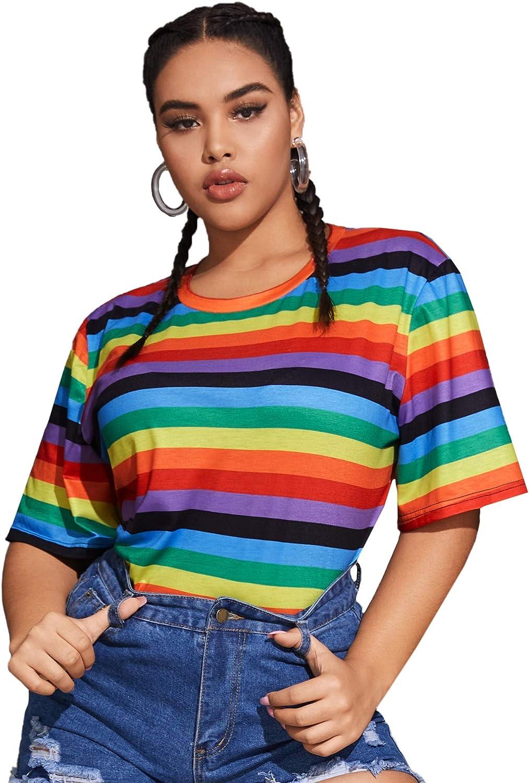Milumia Women's Plus Size Tee Rainbow Striped Crewneck Half Sleeve T Shirt Top