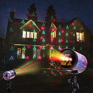 SUNY 3 Lens RGR Outdoor Laser Light, Christmas Theme Laser Projector IP65 Waterproof Automatic Timing Landscape Light Decor for Holiday Party Garden Yard Xmas Trees(Starry Shell)